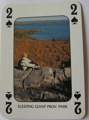 Two of Spades showing Sleeping Giant, Prov. Park, from the 'Discover Ontario'<p><p> deck