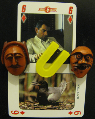A six of diamonds featuring a sour-looking man sitting in an armchair, possibly clutching a crooked U magnet which is between angelic face and mad face magnets, above another six of diamonds featuring a black tern