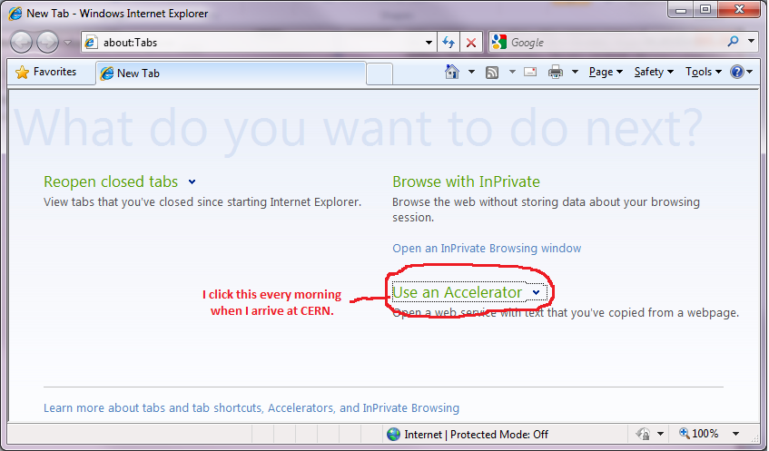 Screenshot of a new tab in Internet Explorer, showing the 'Use an Accelerator' section circled with the text 'I click this every morning when I arrive at CERN'.