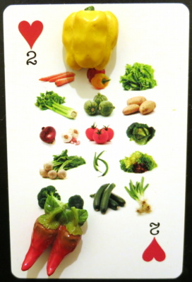 Two of hearts showing a selection of vegetables