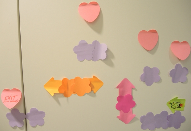 A platformer game in Post-Its, with moving clouds and some hearts to collect