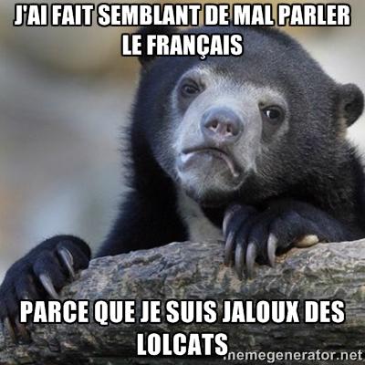 Confession bear: J'ai fait semblant de mal parler le français, parce que je suis jaloux des lolcats