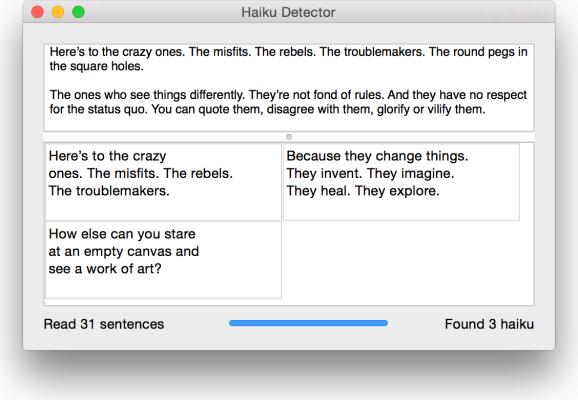 Screenshot of Haiku Detector